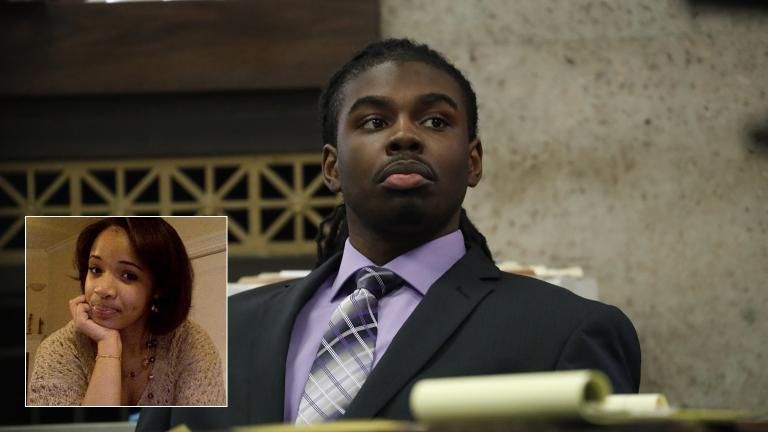 Defendant Micheail Ward during the trial for the fatal shooting of Hadiya Pendleton at the Leighton Criminal Court Building in Chicago on Aug. 21, 2018. (Jose M. Osorio / Chicago Tribune / Pool). Inset: Hadiya Pendleton.