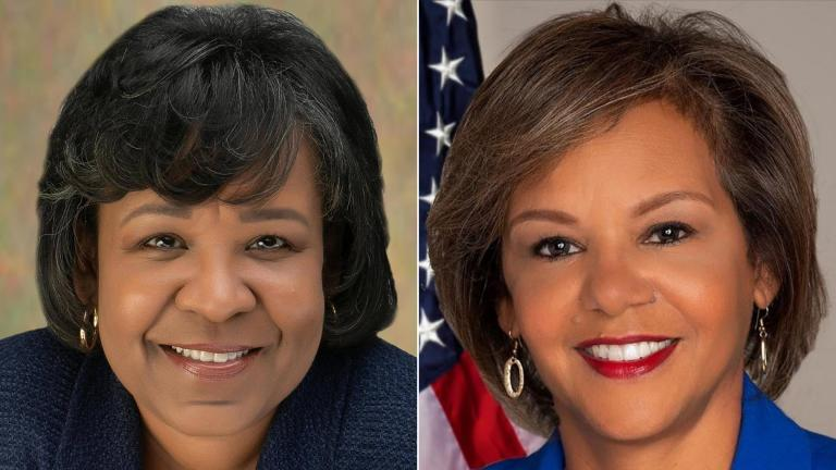 Ald. Michelle Harris (8th Ward), left, and U.S. Rep. Robin Kelly (D-Chicago). (Courtesy of Harris and Kelly)