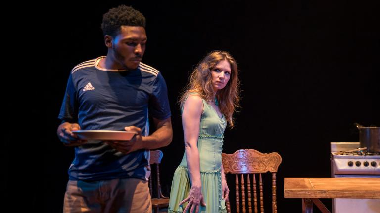 "Jalen Gilbert and Heather Chrisler in ""Mies Julie"" at Victory Gardens Theater. (Photo credit: Liz Lauren)"