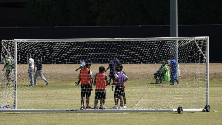 Children play soccer at an emergency shelter for migrant children Friday, July 2, 2021, in Pomona, Calif. (AP Photo / Marcio Jose Sanchez, Pool)