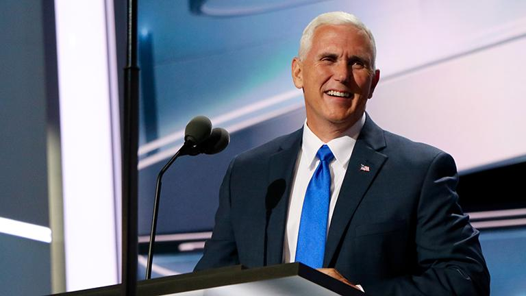 Indiana Gov. Mike Pence accepts the Republican vice presidential nomination on the third day of the RNC. (Evan Garcia / Chicago Tonight)