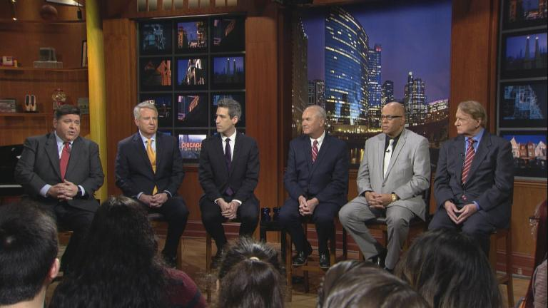 Democratic candidates for governor (seated in the order they appear on the ballot, from left): J.B. Pritzker, Chris Kennedy, Daniel Biss, Bob Daiber, Tio Hardiman and Robert Marshall.