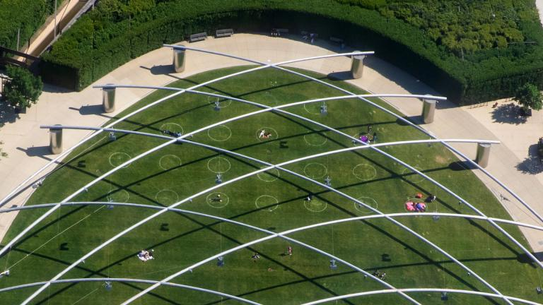 Millennium Park's Great Lawn is dotted with social distance circles. (Chicago Mayor's Office)