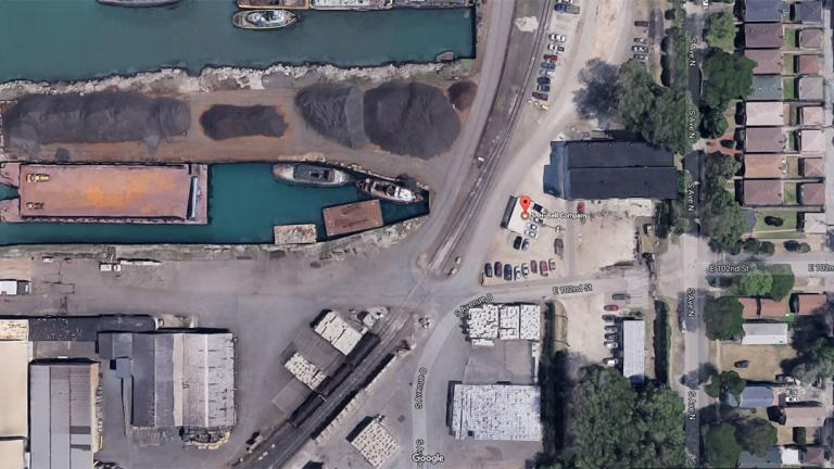 An overhead photo of S.H. Bell's Chicago facility appears to show rust-colored stains from manganese handled by the company. (Google Maps)