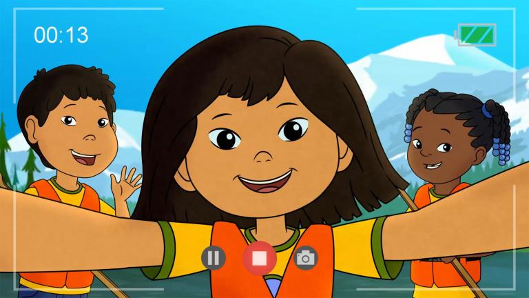 "A still image from the new PBS Kids TV show ""Molly of Denali."""