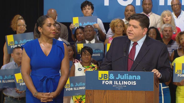 Democratic candidate for governor J.B. Pritzker introduces his running mate, South Side state Rep. Juliana Stratton, on Aug. 10.