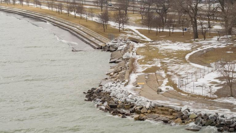 Repairs are just getting underway on a stretch of lakefront damaged by a storm in January 2020. (Courtesy of Metropolitan Water Reclamation District)