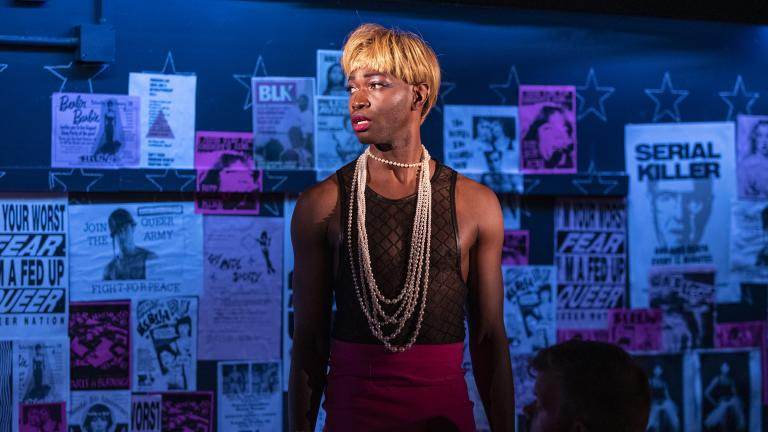"Tarell Alvin McCraney in Steppenwolf's world premiere production of ""Ms. Blakk for President,"" co-written by ensemble members Tina Landau and McCraney. (Photo by Michael Brosilow)"
