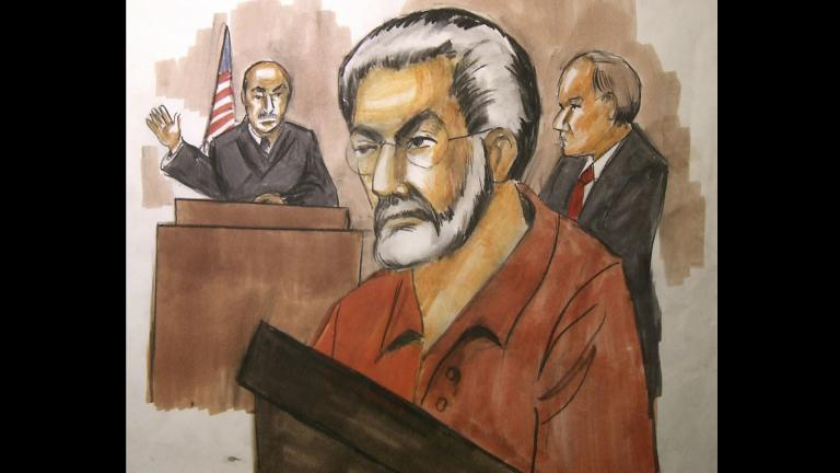 In this Jan. 6, 2010, file courtroom artist's drawing Chicago businessman Tahawwur Rana, center, appears before Judge Matthew Kennelly in Chicago's federal court. (AP Photo / Verna Sadock, File)