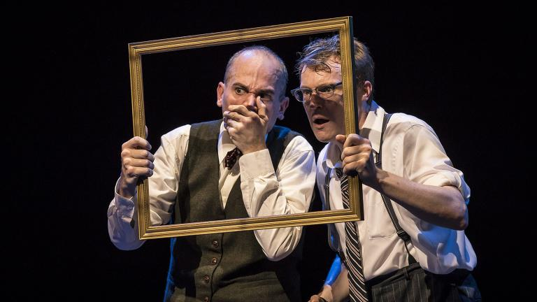 "Jason Grimm, left, and Noel Carey star in ""Murder for Two"" at the Marriott Theatre. (Photo credit: Liz Lauren)"