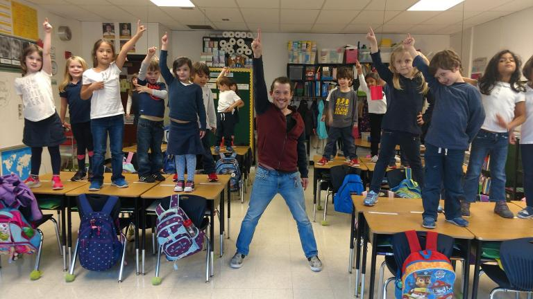 """""""Hamilton"""" star Miguel Cervantes and a group of children demonstrate the """"My Shot"""" pose used in the viral campaign started by Cervantes and his wife, Kelly, to raise awareness and funds for epilepsy research. (CURE: Citizens United for Research in Epilepsy / Facebook)"""