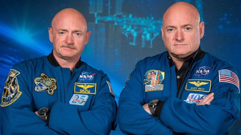 Identical twin brothers retired astronaut Mark Kelly, left, and Scott Kelly (Robert Markowitz / NASA)