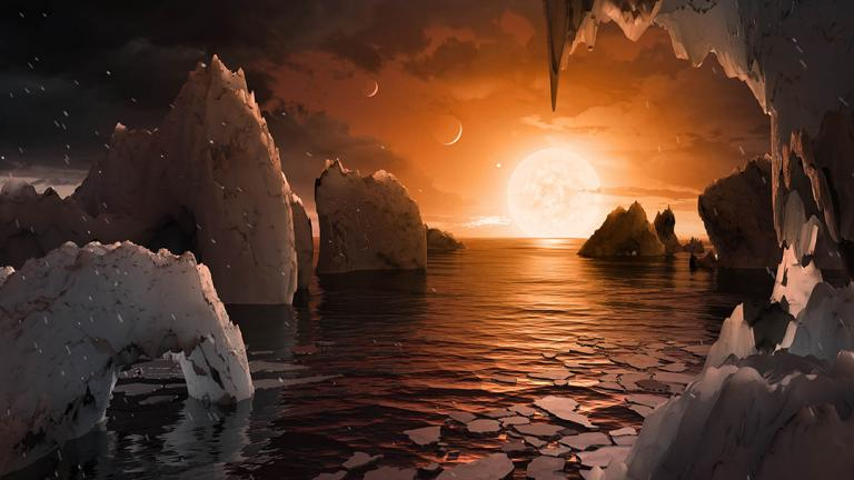 An artist's interpretation of what the surface of the exoplanet TRAPPIST-1f could look like. (NASA / JPL-Caltech)