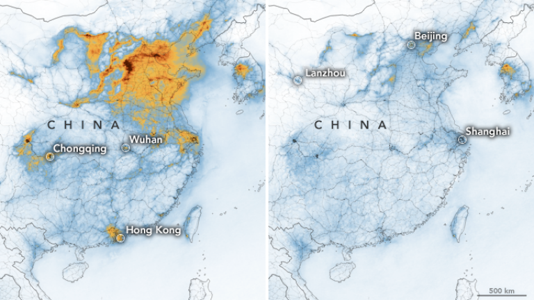 Pollution density over China in January 2020 (left) and dramatically less in February. (NASA Earth Observatory)