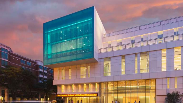 The Theatre School at DePaul University's new facility at night