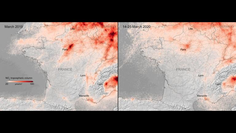 Side-by-side comparisons show a decrease in nitrogen dioxide over France. (Credit: European Space Agency)