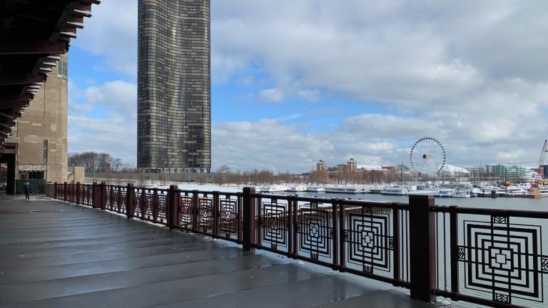 A new section of the Navy Pier flyover opened Monday, Feb. 1, 2021 over the Chicago River on the east sidewalk of the Lake Shore Drive Bridge. (Credit: Chicago Department of Transportation)