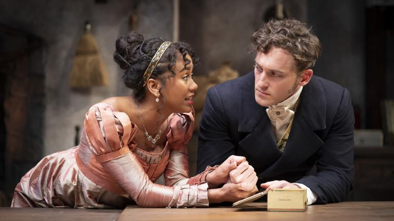 "Netta Walker (left) and Luigi Sottile in ""The Wickhams: Christmas at Pemberley."" (Photo by Liz Lauren)"