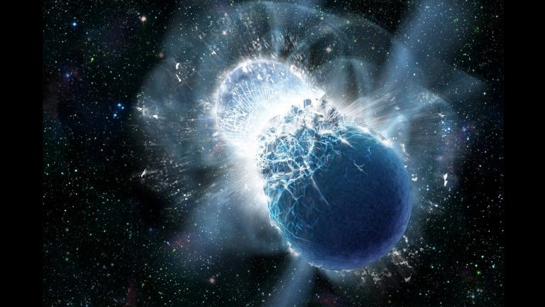 An artist's illustration of two colliding neutron stars. (Credit: Dana Berry / Swift / NASA)