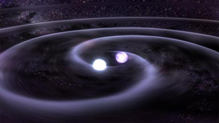 A NASA animation shows the pending collision of two neutron stars. (NASA)