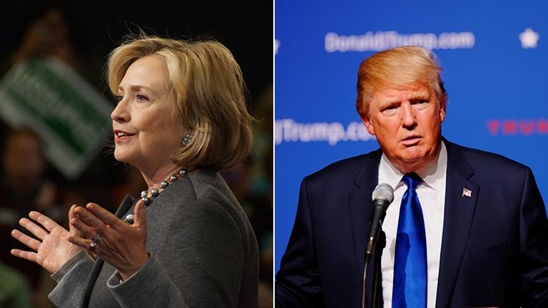 Hillary Clinton and Donald Trump emerged as clear front-runners following Tuesday's primary in New York. (Photos, from left, by Marc Nozell, Michael Vadon / Flickr)