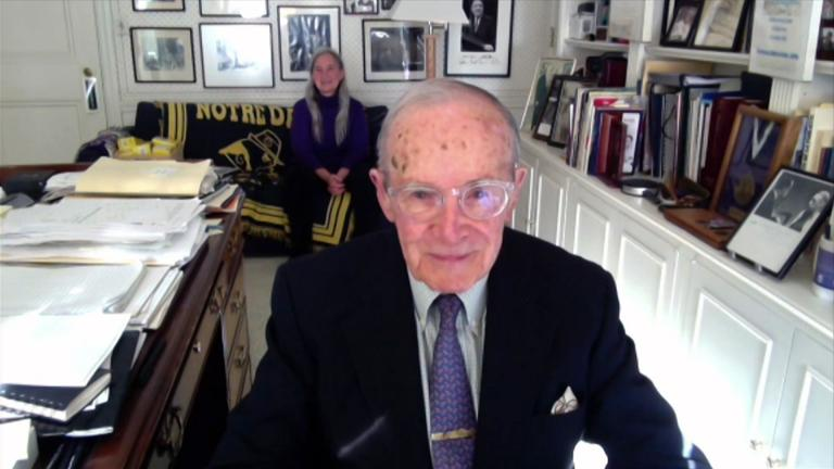"""Newton Minow appears on """"Chicago Tonight"""" via Zoom on Monday, May 10, 2021. (WTTW News)"""