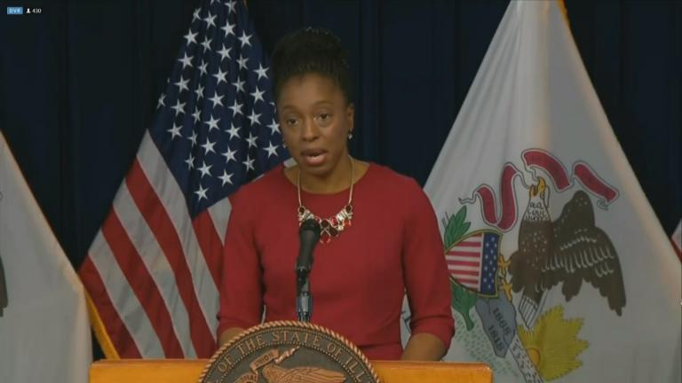 Illinois Department of Public Health Director Dr. Ngozi Ezike speaks Wednesday, Dec. 9, 2020 during the state's daily COVID-19 press briefing. (WTTW News)