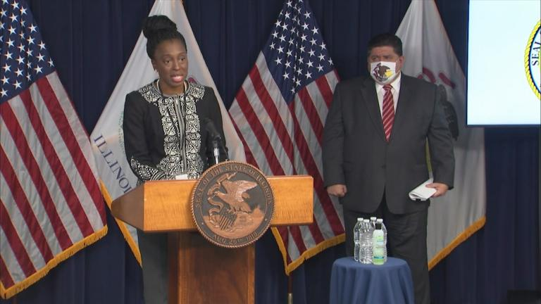 Illinois Department of Public Health Director Dr. Ngozi Ezike speaks Wednesday, Oct. 21, 2020 at the state's daily COVID-19 press briefing. (WTTW News)