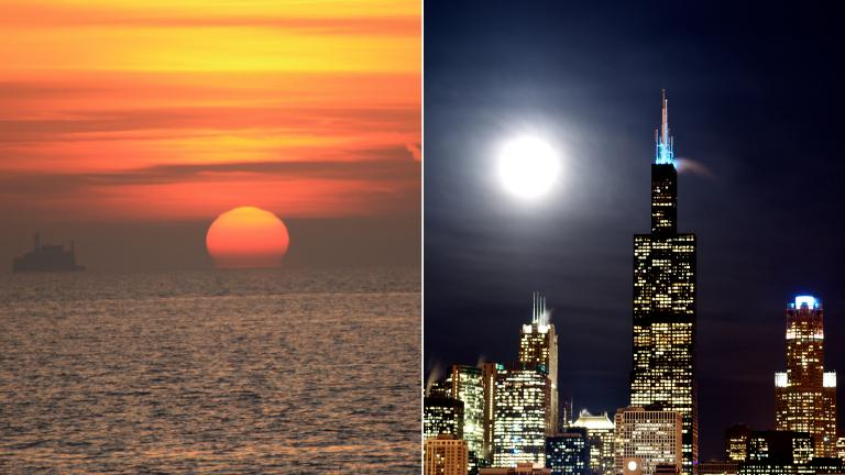 Left: Sunrise over Lake Michigan. (rlobes / Pixabay). Right: Moon over Chicago. (nathanmac87 / Flickr)