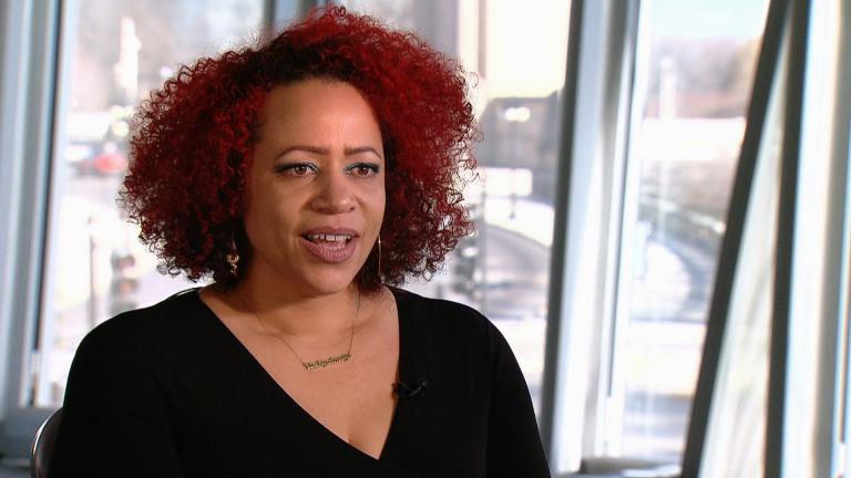 Nikole Hannah-Jones speaks with Brandis Friedman in December 2017. (WTTW News)