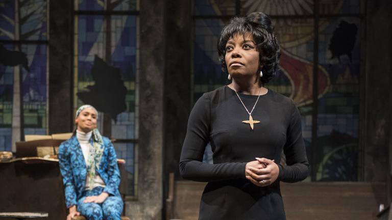 "Ariel Richardson, left, and Sydney Charles in Christina Ham's play ""Nina Simone: Four Women"" at Northlight Theatre. (Photo credit: Michael Brosilow)"