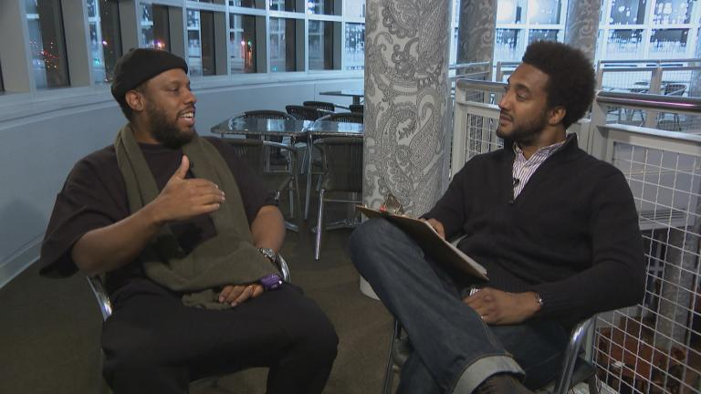 "No I.D., left, is interviewed by ""Chicago Tonight"" special correspondent Jeff Baraka."