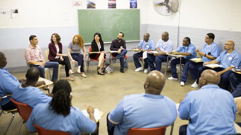Northwestern University faculty meet with students at Stateville Correctional Center. (Courtesy Northwestern University)