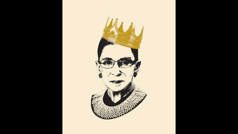 """Notorious RBG"" book cover illustration by Adam Johnson. Courtesy of HarperCollins. Photographs: Crown © by Hurst Photo/Shutterstock; Ruth Bader Ginsburg, Collection of the Supreme Court of the United States."