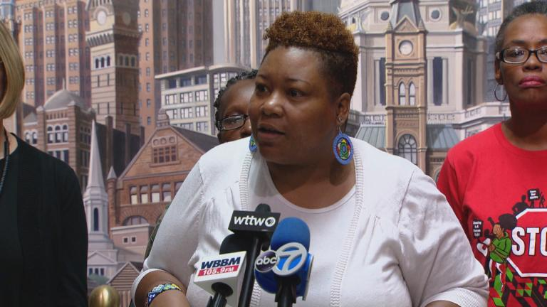 Ald. Jeanette Taylor, 20th Ward, speaks at a press conference Thursday, Sept. 5, 2019. Taylor is the sponsor of a City Council that seeks to guarantee her constituents are not displaced by the development of the Obama Presidential Center.