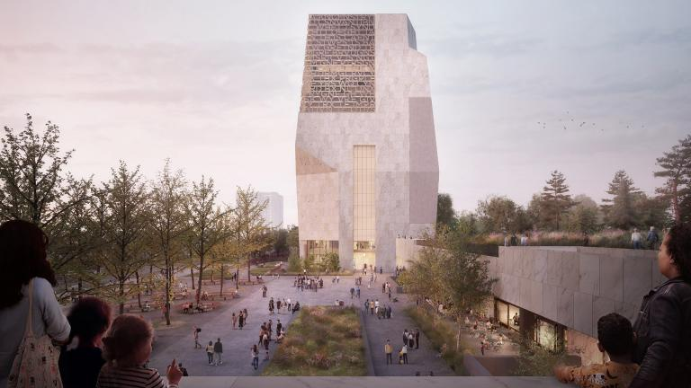 A rendering shows the north-facing view of the public plaza and Museum building, as viewed from the roof of the Chicago Public Library building. (Credit: The Obama Foundation)