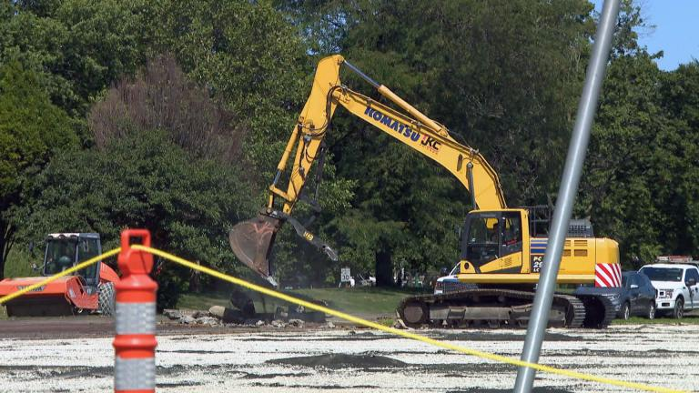 With a bulldozer and road closures in place, construction on the Obama Presidential Center began Monday, Aug. 16, 2021. (WTTW News)