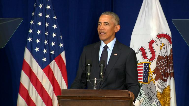 """""""What happened to the Republican Party?"""" former President Barack Obama asked during a speech Friday, Sept. 7, 2018 in Urbana, Illinois."""
