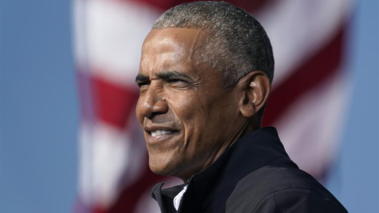 FILE - In this Nov. 2, 2020 file photo, former President Barack Obama speaks at a rally as he campaigns for Democratic presidential candidate former Vice President Joe Biden at Turner Field in Atlanta. (AP Photo / Brynn Anderson)