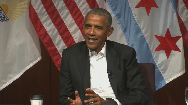 Former President Barack Obama speaks on Monday, April 24 at the University of Chicago.