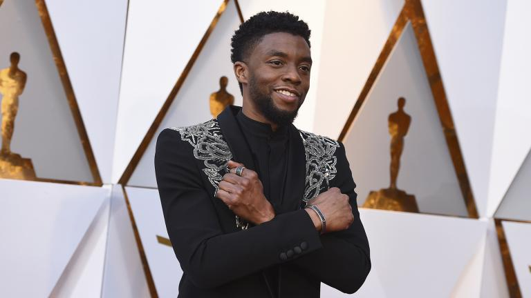 In this March 4, 2018 file photo, Chadwick Boseman arrives at the Oscars at the Dolby Theatre in Los Angeles. (Photo by Jordan Strauss / Invision / AP, File)