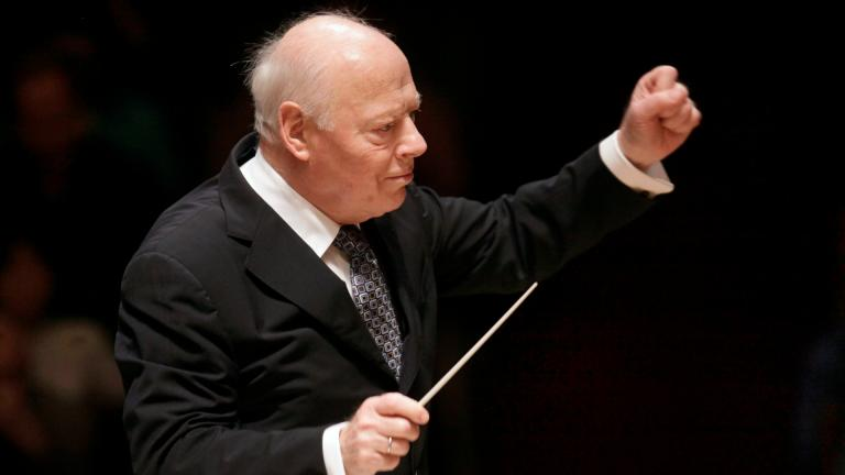 In this Friday, Nov. 20, 2009 file photo, Principal Conductor of the Chicago Symphony Orchestra Bernard Haitink conducts the Boston Symphony Orchestra in the Brahms Symphony No. One in Boston. (AP Photo / Steven Senne, File)