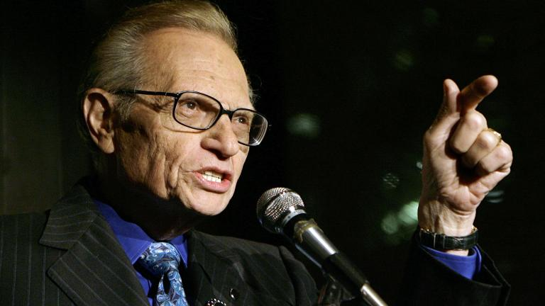In this April 18, 2007 file photo, Larry King speaks to guests at a party held by CNN, celebrating King's fifty years of broadcasting in New York. ( AP Photo / Stuart Ramson, File)