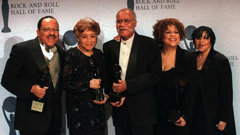 In this March 15, 1999 file photo, The Staple Singers, from left, Pervis, Cleotha, Pops, Mavis, and Yvonne pose at the Rock and Roll Hall of Fame induction ceremony in New York. (AP Photo / Albert Ferreira, File)