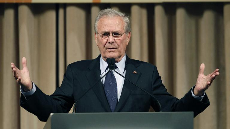 In this Oct. 11, 2011, file photo, former U.S. Secretary of Defense Donald Rumsfeld speaks to politicians and academics during a luncheon on security in rising Asia, in Taipei, Taiwan. The family of Rumsfeld says he has died. He was 88. (AP Photo / Wally Santana, File)