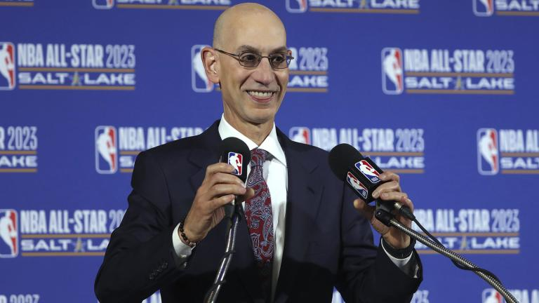 In this Oct. 23, 2019, file photo, NBA Commissioner Adam Silver speaks during a news conference at Vivint Smart Home Arena in Salt Lake City.  (AP Photo / Rick Bowmer, File)