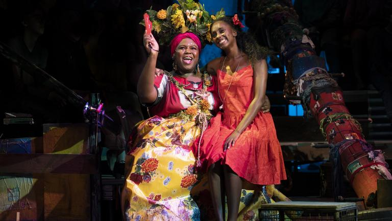 "Kyle Ramar Freeman (left) as Asaka and Courtnee Carter as Ti Moune in the North American Tour of ""Once On This Island."" (Photo by Joan Marcus / 2019)"