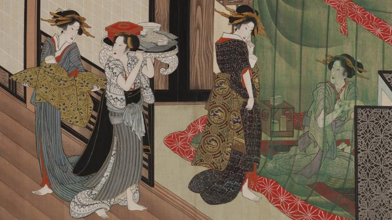 (Utagawa Toyokuni. A painting from One Hundred Looks of Various Women, 1816. Weston Collection.)