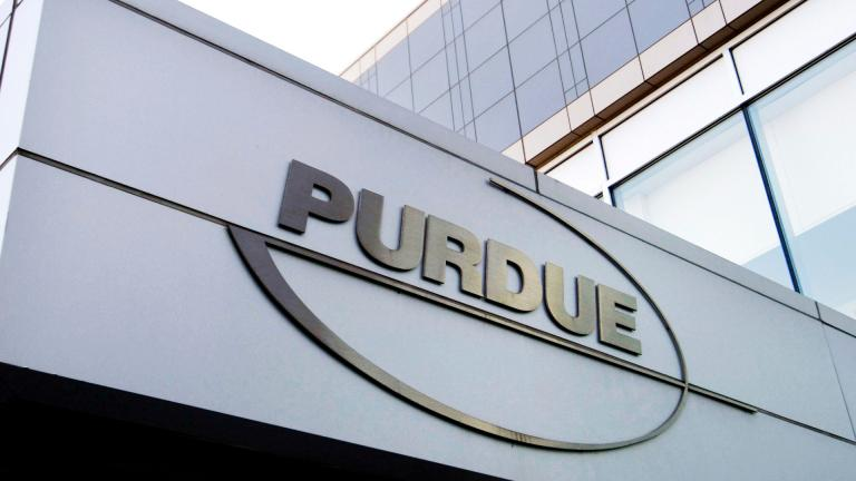 This Tuesday, May 8, 2007, file photo shows the Purdue Pharma logo at its offices in Stamford, Conn. (AP Photo / Douglas Healey, File)