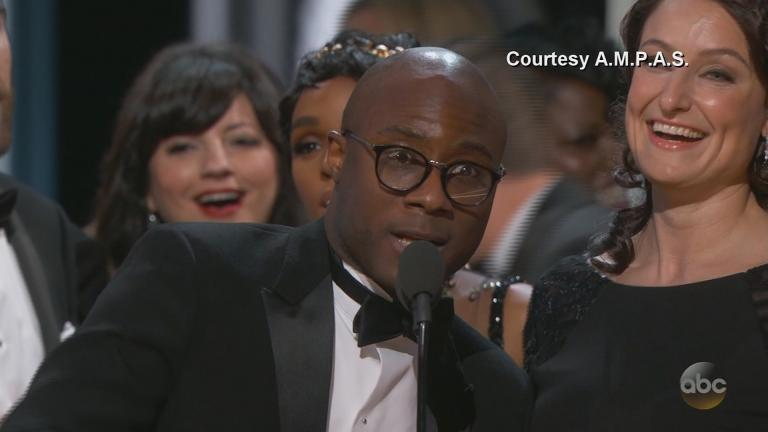 """Moonlight"" director Barry Jenkins at the Academy Awards on Sunday. (Courtesy of Academy of Motion Picture Arts and Sciences)"